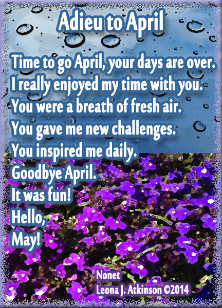 Adieu to April--Farewell poem--Nonet