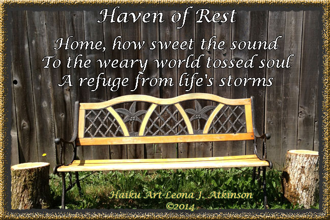 Haven of Rest Haiku, photo of a bench at home