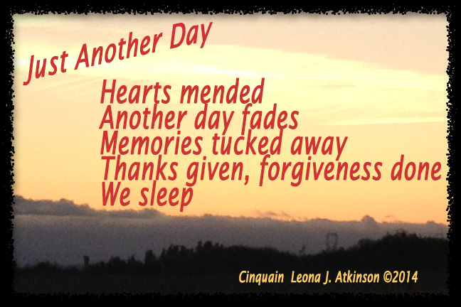 Just Another Day--Cinquain poem Sunset photo