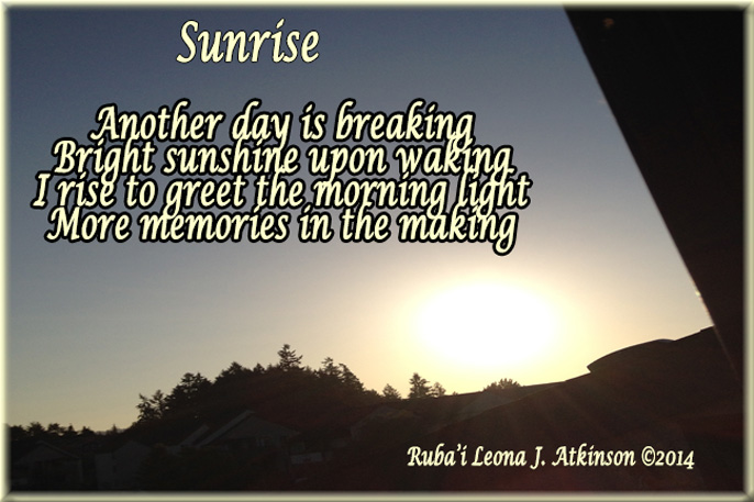 Sunrise photo and Ruba'i poem