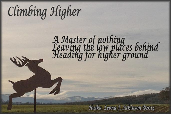 Climbing Higher--Haiku poem--flying reindeer photo