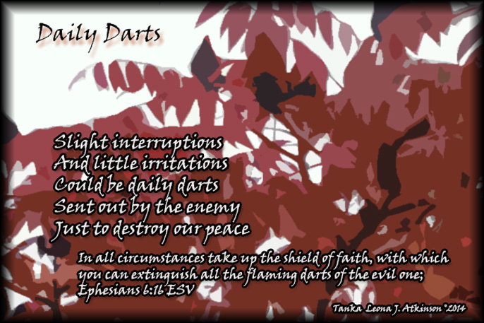 Tanka poem about Daily Darts referencing scripture Ephesians 6:16