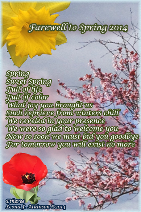 Farewell to Spring 2014--Etheree poem