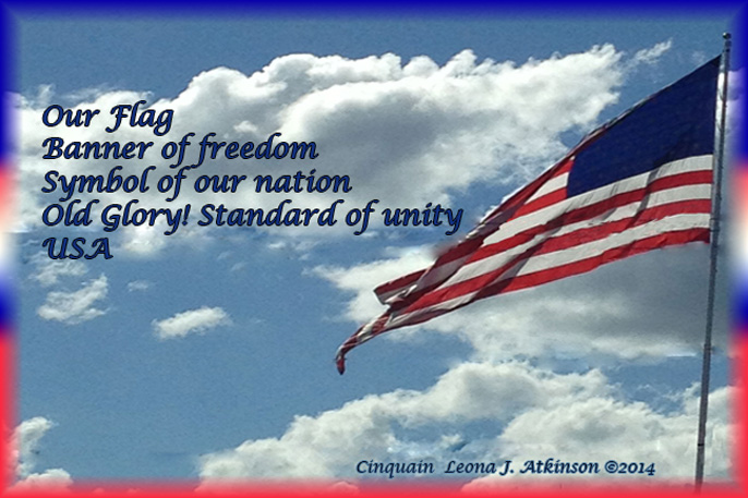 Flag Day Cinquain poem with photo of US Flag