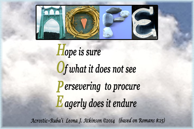 HOPE-Acrostic and Ruba'i poetry with Alphabet Art based on Romans 8:25