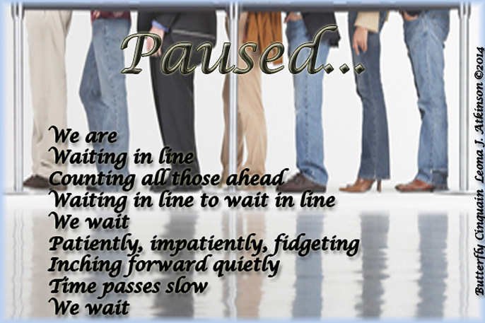 waiting in line--Butterfly Cinquain poem