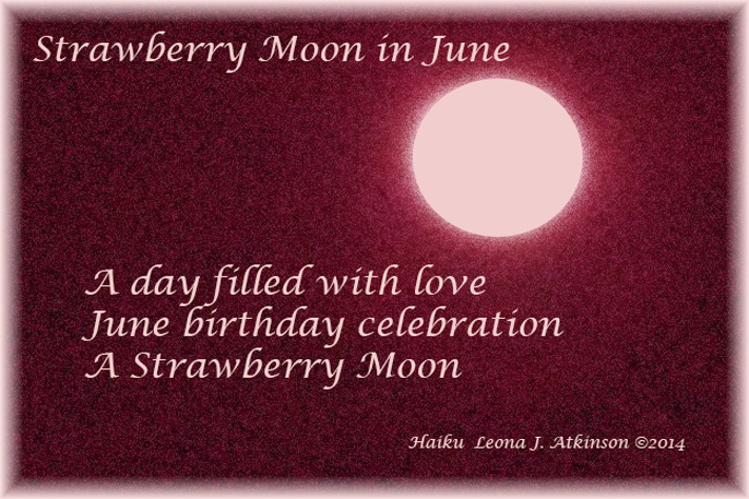 Haiku--Haiga--Strawberry Moon in June