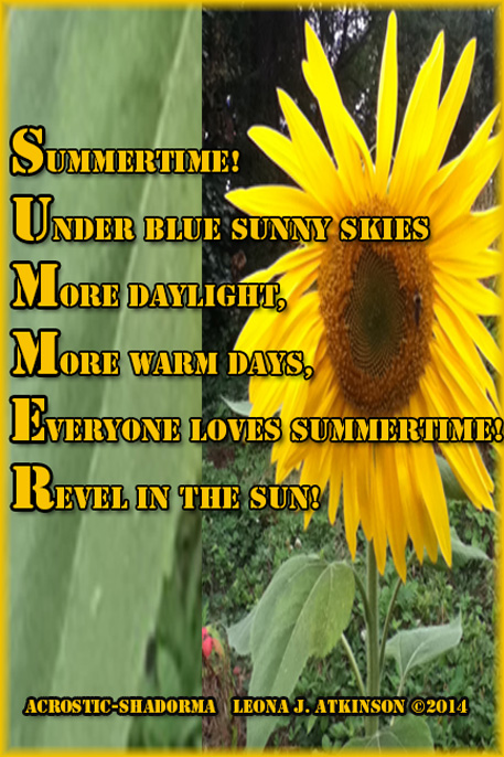SUMMER-Acrostic and Shadorma poem with Sunflower photo
