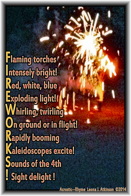 FIREWORKS!--Acrostic/Rhyme--Photo of fireworks