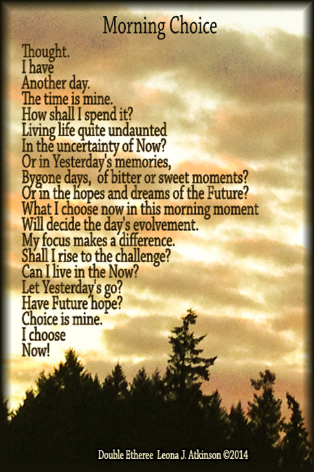 Sunrise photo with Double Etheree poem about choice