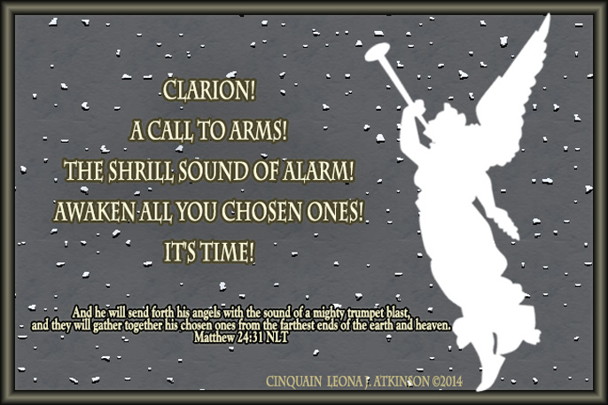 Clarion, angel blowing trumpet, Cinquain poem, scripture verse Matthew 24:31
