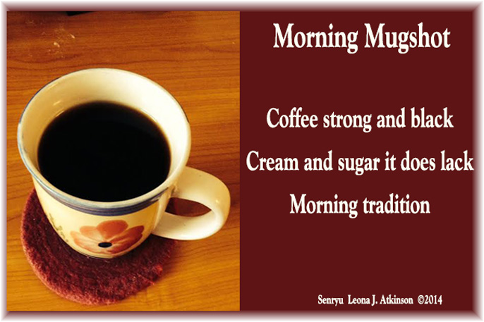 Mug filled with coffee--Senryu poem for National Coffee Day