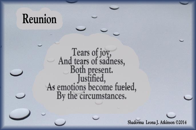 tears, raindrops, Shadorma poem--reunion