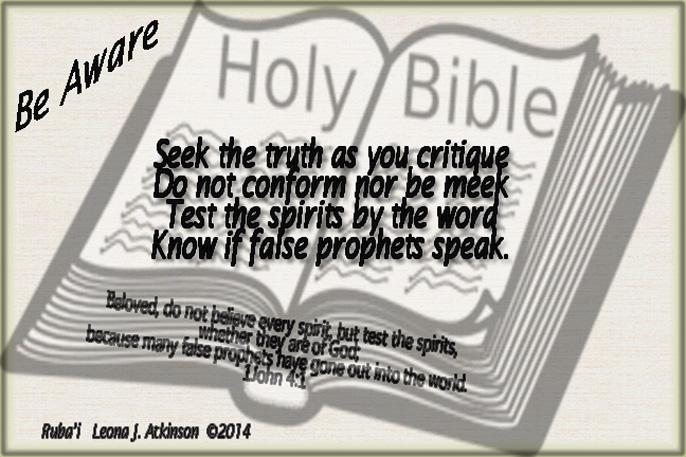 Ruba'i poem based on 1John 4:1 scripture