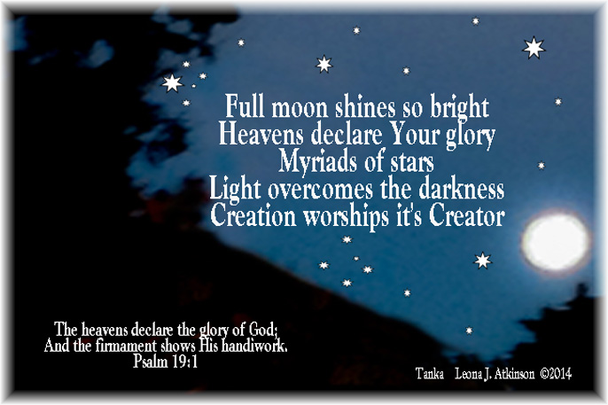 Tanka poem about the full moon, stars and scripture Psalm 19:1