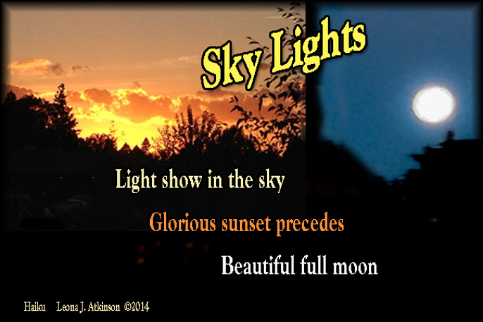 sunset, full moon, sky lights, Haiku