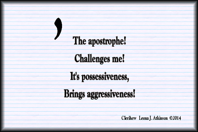 Clerihew poem about the apostrophe