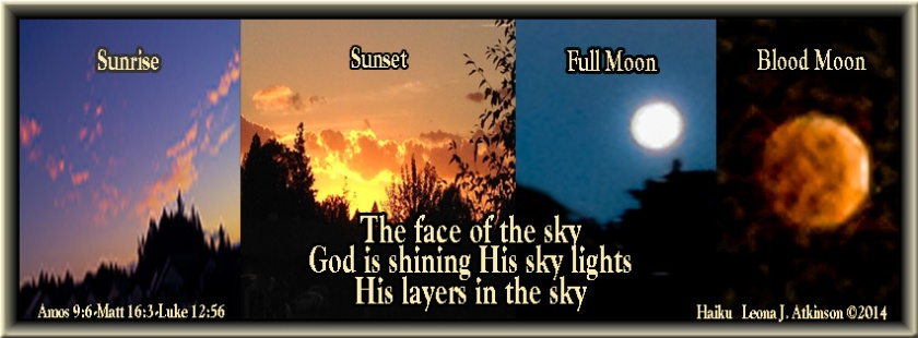 collage of sky photos--sunrise, sunset, moon, Haiku about the sky