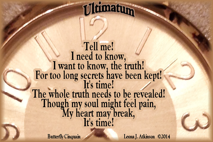 Butterfly Cinquain poem about time and truth