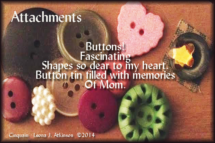 photo of buttons--National Button Day--Cinquain poem about buttons