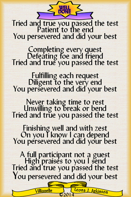 Villianelle poem about determination and finishing well