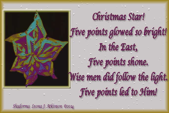 Christmas Star--Shadorma poem