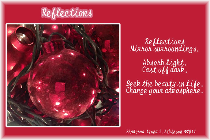 Shadorma poem--reflection of lights on a Christmas ornament