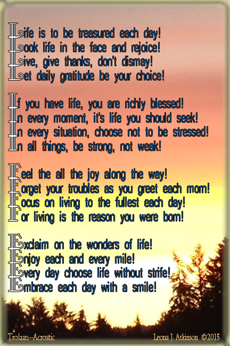Celebrate Life--Trolaan/Acrostic poem written in honor of Celebration of Life Day--January 22