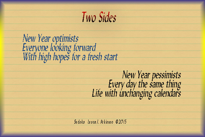 Sedoka poem about New Year