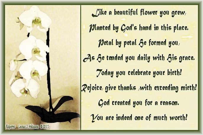His Design--Rispetto poem--Orchid photo