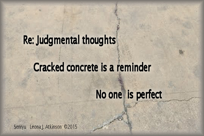 Senryu poem, cracked concrete, judmental thoughts