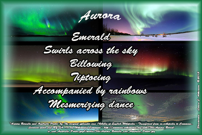 Shadorma poem about Aurora Borealis--photos of Auroras from Wikipedia.com
