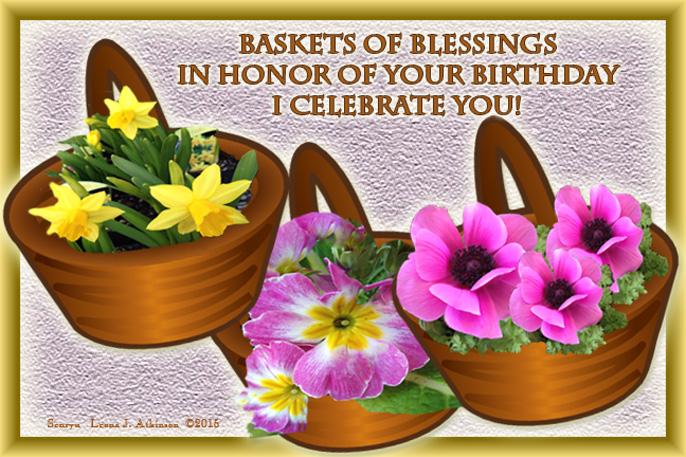 Baskets of Spring Flowers--Senryu birthday poem