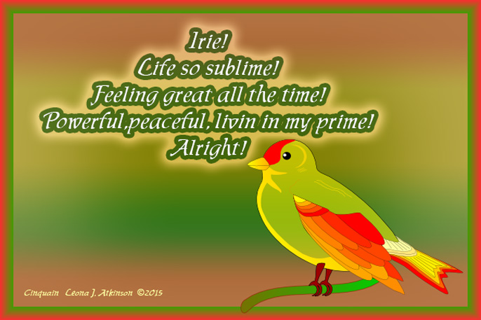 bird of peace Cinquain poem about Irie