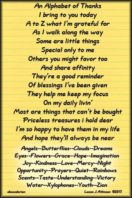 abecedarian  poem--A to Z list of thanks