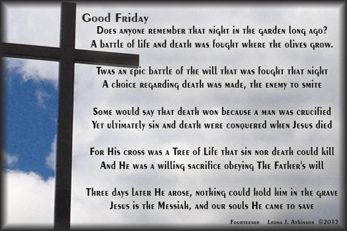 Good Friday--poem about Jesus death on the cross