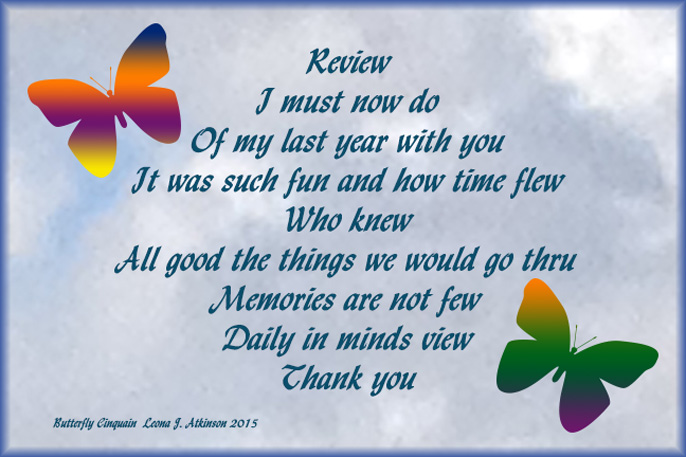 Butterfly Cinquain poem about a year's review of my blog