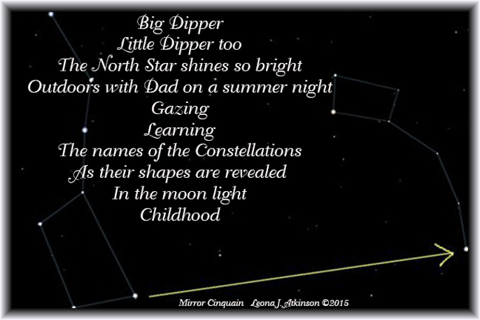 Mirror Cinquain poem about constellations and childhood memories