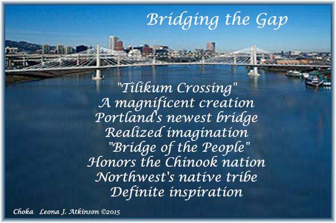 Choka poem about Tilikum Crossing--Portland, Oregon's newest bridge