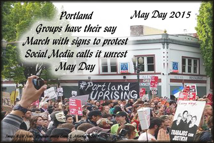 May Day Protest Portland, OR. Cinquain poem