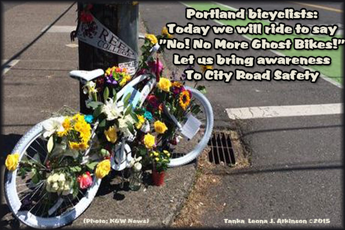 Tanka poem about Ghost Bikes--Portland, OR. raising awareness for auto/bike safety in the city