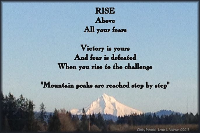 "Mt. Hood photo--Clarity Pyramid poem titled ""Rise"""
