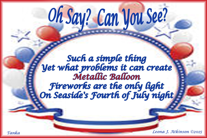 Tanka poem about a balloon causing a power outage on July 4th