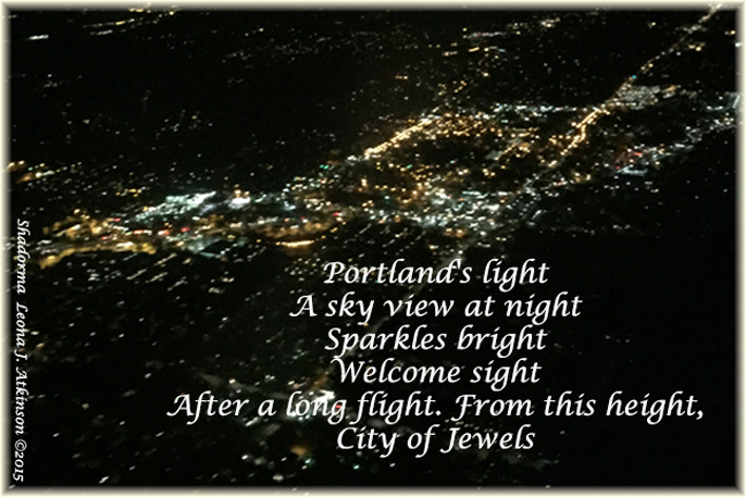 Portland, Oregon--City lights at night from our airplane window--Shadorma poem