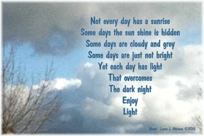 Nonet poem about enjoying the light of day