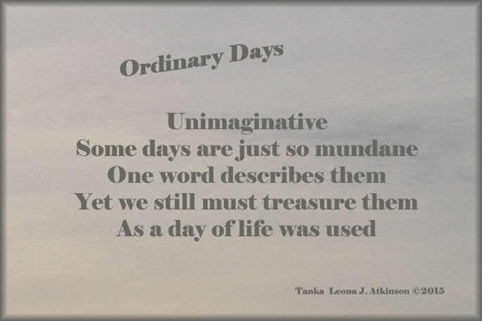 Ordinary Days--Tanka poem