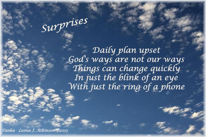 clouds, Tanka poem, surprises