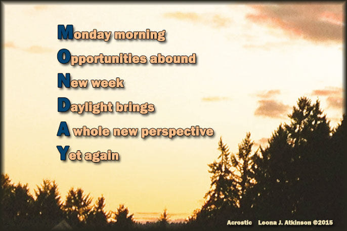 Monday--Acrostic poem