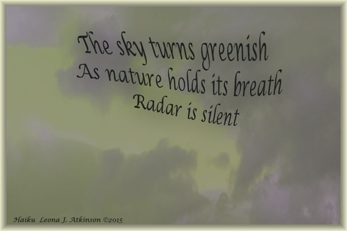 Haiku about a Silent Storm--green sky photo
