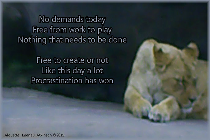 Doing Nothing--Alouette poem--lion sleeping
